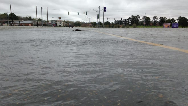 The main entry to Natchitoches under water Thursday afternoon.