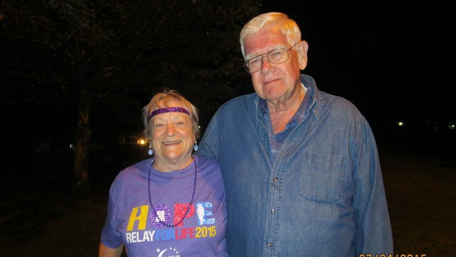 Jean Ahart and her husband, Alan, at a Relay for Life event in 2015.