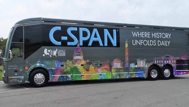The C-SPAN bus will welcome visitors aboard Thursday at Centennial High School.