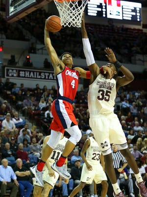 Ole Miss guard Breein Tyree (4) scored 20 of his career-high 24 points in the second half against MSU Tuesday.