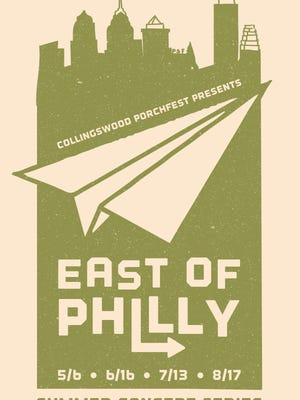 The poster for the East of Philly concert series, designed by artist Greg Dyson.