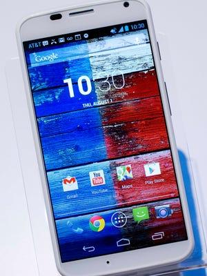 The Motorola Moto X smartphone, using Google's Android software.