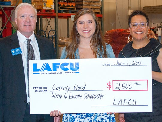 Cassidy Ward, of Laingsburg, center, is a 2017 LAFCU