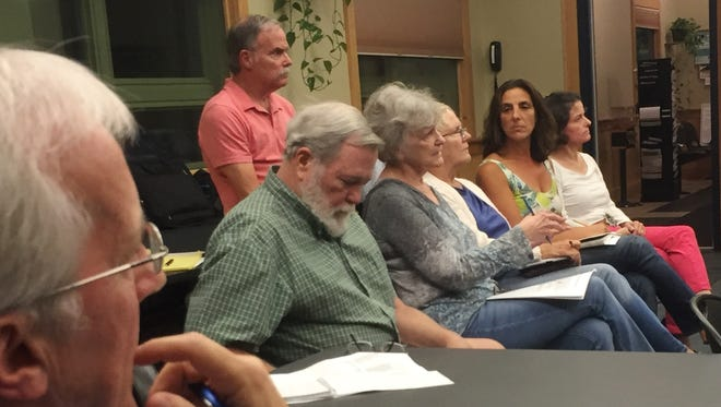 Ramona Sheppard, center, of Essex Junction, speaks Thursday night at a meeting of the Recreation Governance Committee at the Essex Police Department. Photographed on Thursday, Sept. 1, 2016.