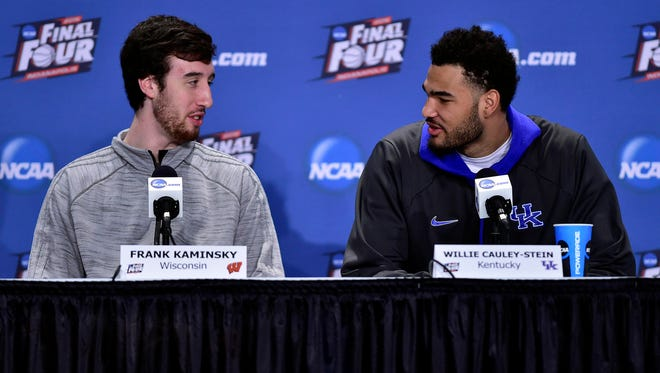 Wisconsin Badgers forward Frank Kaminsky (44) and Kentucky Wildcats forward Willie Cauley-Stein (15) are two of the NBA prospects playing in the Final Four this weekend.