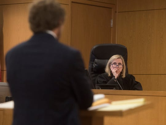 Circuit Judge Jan Shackelford listens to testimony during a bond revocation hearing for Ashley McArthur Monday, April 23, 2018. McArthur is accused of killing private detective Taylor Wright and burying her on a family member's property.