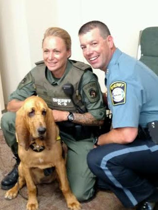 Carroll County Sheriff Jim DeWees, right, is shown along with Master Deputy Kathleen Yox (K9 Handler) and Katie Justia Pinkerton Star, the newest K9 member of the Sheriff's office.