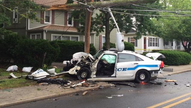 A Salisbury police car is shown after a head-on crash Tuesday morning.