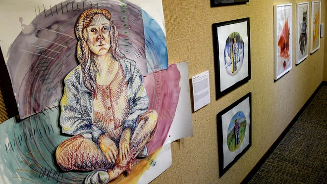 """A collage using colored pencils and watercolors by Chandler Reich is among the artwork on display at Garden City Community College's Mercer Gallery by Fort Hays State University students. The exhibit, titled """"Fort Hays State University Drawing Majors"""", runs through Sept. 11."""