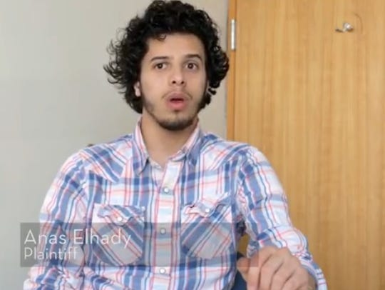 Anas Elhady, 22, of Dearborn, says he was unfairly