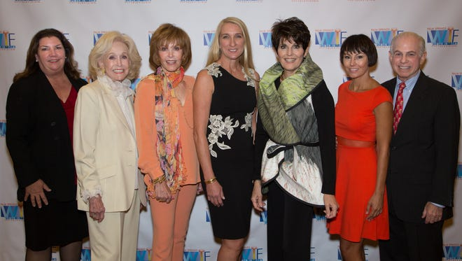 (Awardees and Board Members) L-R: Leanna Bonamici, PSWIFT President; Nelda Linsk; Stefanie Powers;  Jane Austin;  Lucy Arnaz;  Kellee McQuinn; Mitch Blumberg, PSWIFT Board Member and Event Co-Chair
