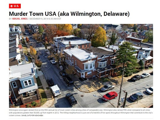 "Newsweek's ""Murder Town USA (aka Wilmington, Delaware)"" article from Dec. 2014."