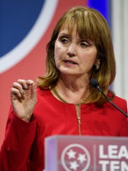 Republican gubernatorial candidate Beth Harwell speaks to the candidate forum at Lipscomb University's Allen Arena Tuesday, May 15, 2018, in Nashville, Tenn.