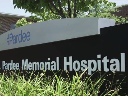 A sign outside Pardee Memorial Hosptal.