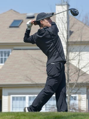 Matt Rizzo of Southern follows through on his tee shot on 15. The Ocean County High School Golf Tournament was played at the Westlake Country Club in Jackson, NJ, on Monday, April 11, 2016.