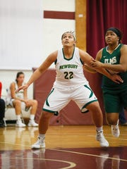 In this 2016 photo, Lakeview High School graduate and Newbury women's basketball player Savannah Olsen awaits a rebound.