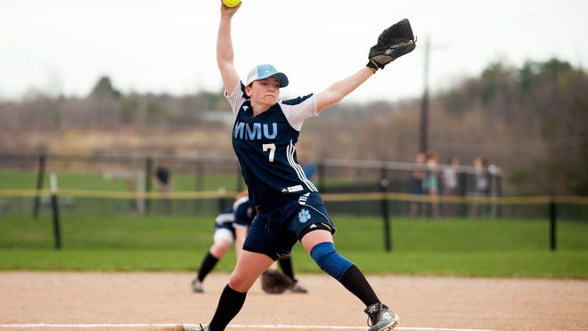 MMU pitcher Sydney LeBrourveau delivers a pitch during the girls softball game between BFA-St. Albans and Mount Mansfield at MMU High School on last season.