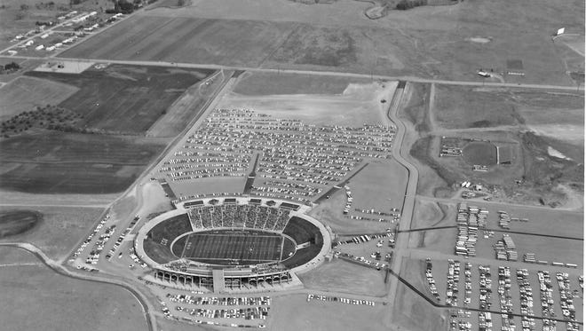 An aerial photo from the first game at Hughes Stadium, Sept. 28, 1968. Hughes Stadium will see its final kickoff Saturday.
