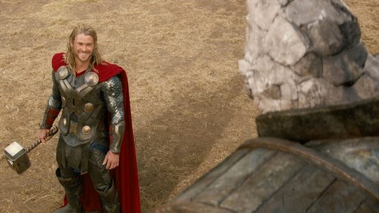 Chris Hemsworth stars in 'Thor: The Dark World,' the No. 1 movie at the box office this weekend.