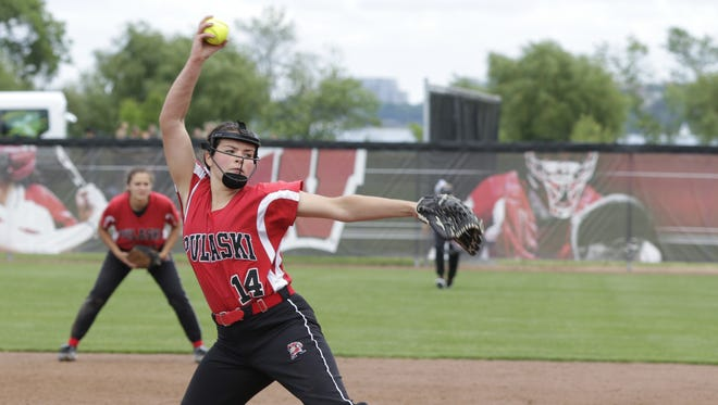 Pulaski's Liz Pautz pitched a no-hitter with 16 strikeouts during a WIAA Division 1 state quarterfinals game against Divine Savior Holy Angles at Goodman Diamond in Madison, Wis., June 9, 2016.  Pulaski beat D.S.H.A. 8 - 0.