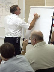 "Larry Koerber, Henderson Emergency Management Agency Director trying to map out the best place to put a command post at a training seminar on ""Weapons of Mass Destruction and Management of Terrorism"". The class held at the Henderson Community College was Developed by the U.S. Department of Justice to help local communities prepare for the possibility of a terrorist attack. (Gleaner photo by Mike Lawrence) 07/12/2001"