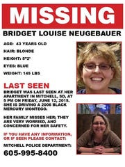 Missing person poster for Bridget Louise Neugebauer