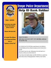 Wanted poster in US Bank robbery.