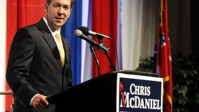 Senator Chris McDaniel speaks to his supporters during his election campaign party Tuesday at the Lake Terrace Convention Center.