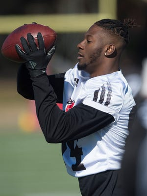 Arkansas State's Dijon Paschal (84) catches the ball during practice on Wednesday, Dec. 13, 2017, in Montgomery, Ala., for the Camellia Bowl.