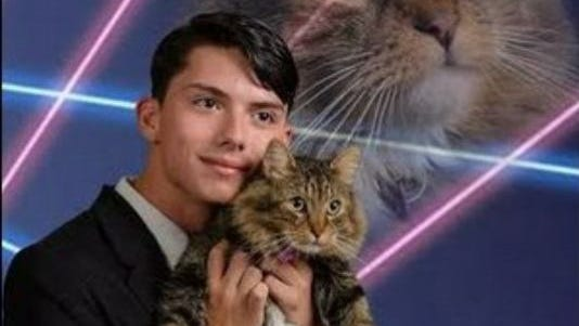 Schenectady High School senior Draven Rodriguez intends to submit this photo for his yearbook image.
