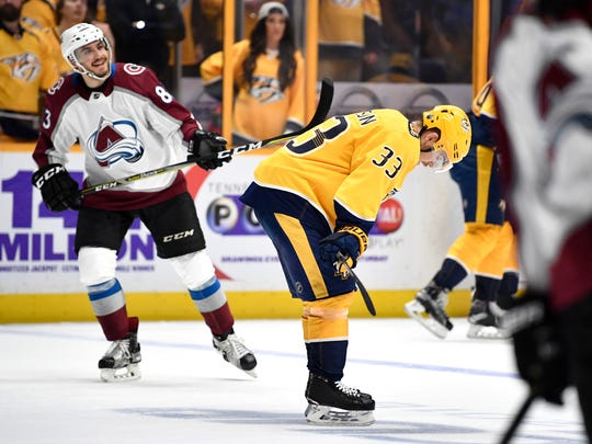 Nashville Predators left wing Viktor Arvidsson (33) reacts to the team's loss to the Avalanche in game 5 of the first round NHL Stanley Cup Playoffs at the Bridgestone Arena Friday, April 20, 2018, in Nashville, Tenn.
