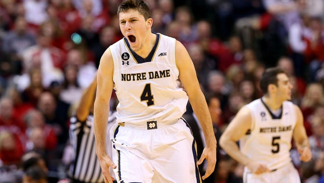 Notre Dame Fighting Irish forward Matt Ryan (4) gets excited after a score during the Crossroads Classic at Bankers Life Fieldhouse on Dec. 19, 2015.