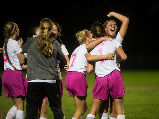 Fairfield celebrates a 3-2 victory over York Catholic during the Division III title game on Oct.13, 2015 at Fairfield High School. Clare Becker - The Evening Sun