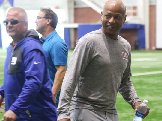 Giants general manager Jerry Reese in the field house just before his press conference.