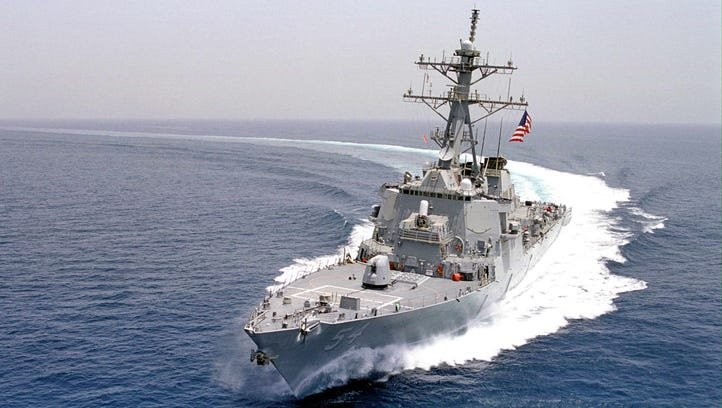 The guided missile destroyer USS Curtis Wilbur.