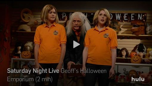 "Appleton was featured in a skit on ""Saturday Night Live's"" Halloween episode."