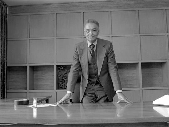 Detroit Mayor Coleman A. Young on his first day in office as mayor of Detroit.