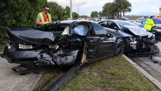 One person was flown to a local trauma center, and another was taken to a hospital by ambulance Thursday, May 25, 2017, after a crash on Southeast Monterey Road, Stuart.