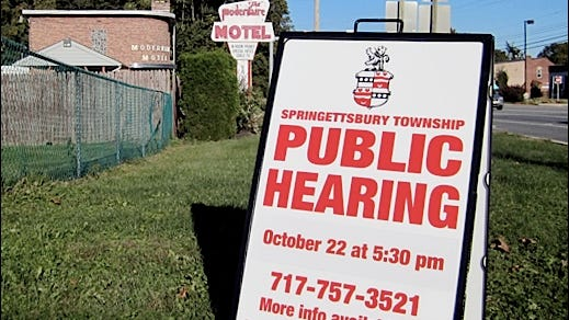 Public Hearing sign at corner of Mt. Zion Road and East Market Street in Springettsbury Township (2015 Photo, S. H. Smith)
