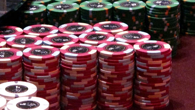 Gambling chips at the Golden Nugget casino in Atlantic City. A Newark real estate firm is proposing to build a casino on land it owns in New Jersey's largest city if voters approve a referendum to expand casino gambling beyond Atlantic City.