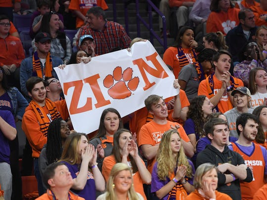 Clemson students hold a sign for Zion Williamson during the 2nd half on Saturday, January 20,  2018 at Clemson's Littlejohn Coliseum. Williamson will announce later tonight where he will sign to play college basketball.