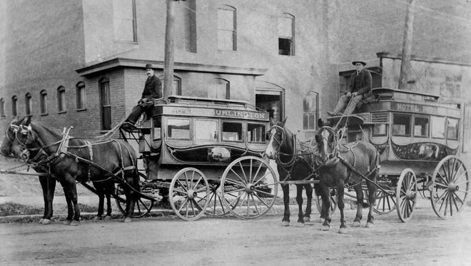 Two teams of horse and carriage for the Hotel Burlington in Burlington around the 1890s. (Courtesy Special Collections, UVM LIbrary)