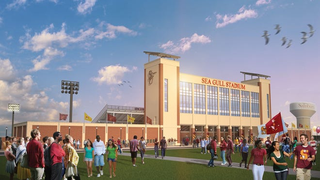 A mock-up of a renovated Salisbury University Sea Gull Stadium, which is slated to be complete by