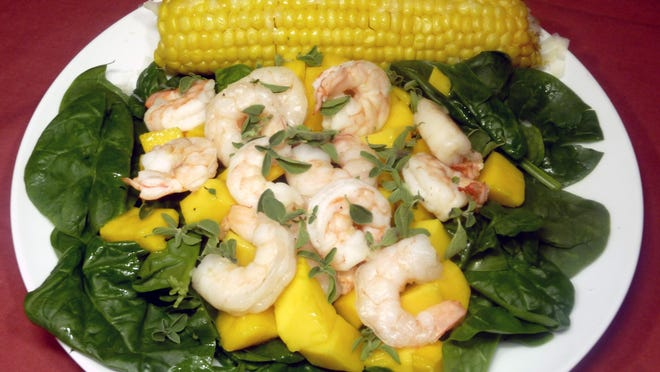 Florentine Shrimp Mango Salad with Sweet Corn on the Cob.