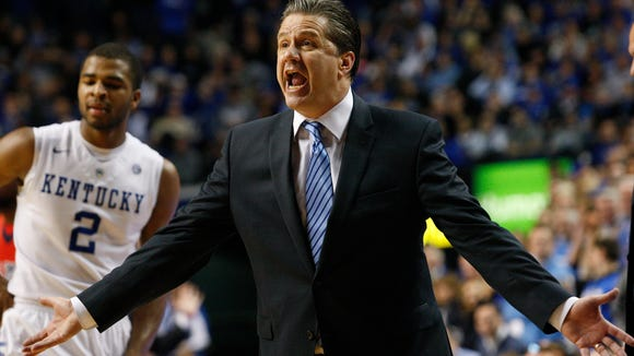Kentucky coach John Calipari gets animated against Ole Miss during a game on Jan. 6 at Rupp Arena.