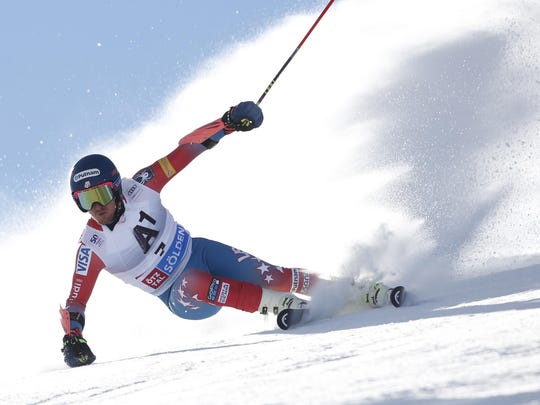 Ted Ligety of the United States competes during the first run of an alpine ski, men's World Cup giant slalom, in Soelden, Austria, on Sunday.