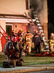 Fire crews from Annville-Cleona Fire District and Palmyra Citizens Fire Co. battle a fire on Mill Street in Annville Township on Saturday, March 11, 2017. The fire, which was caused by arson, is still being investigated by Annville Township police and the state police fire marshal.