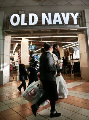 Shoppers approach Old Navy store at Atlantic Terminal Mall in New York.