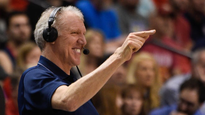 Bill Walton smiles during the second half in the championship game of the Pac-12 Conference tournament between the Oregon Ducks and the Arizona Wildcats at MGM Grand Garden Arena. The Wildcats defeated the Ducks 80-52.
