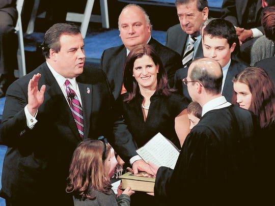 Christie's initial swearing-in as governor at the Trenton War Memorial on Jan. 19, 2010.